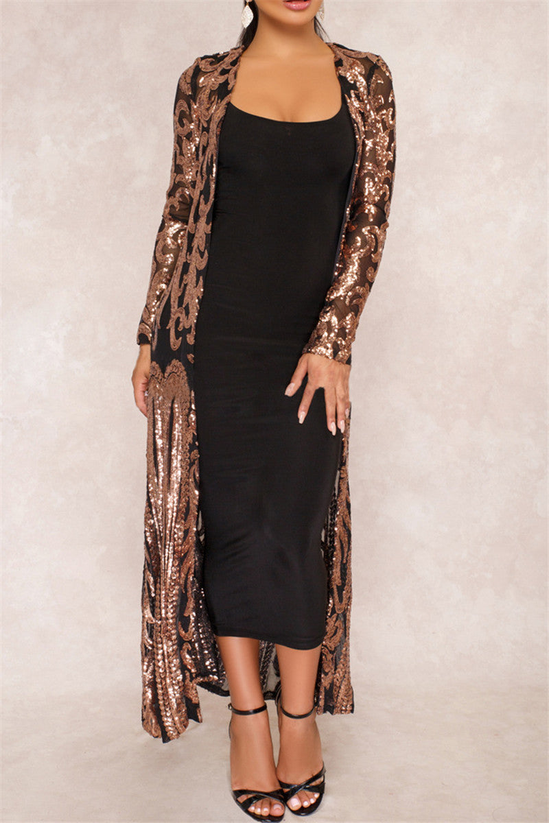 Shinning Sequin Maxi Coat