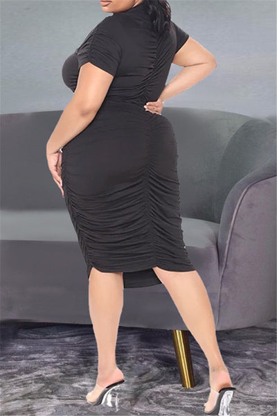 Plus Size XL-4XL Hollow Out Front Ruched Mini Dress