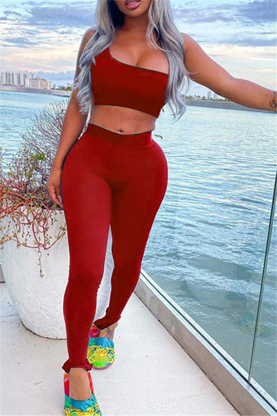 Solid Color One Sleeve Top with Pants Sets