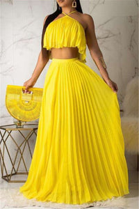 Chiffon Flounce Crop Top with Pleated Skirt Sets