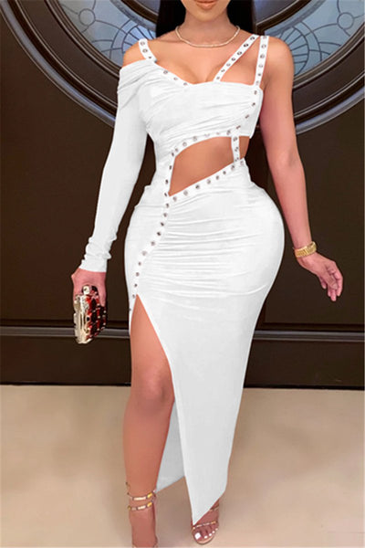 Irregular Bandage Split Leg Fashion Dress