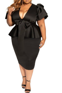 Plus Size L-5XL Deep V Bowknot Flounce Splicing Midi Dress