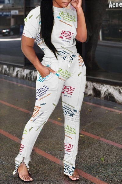 Letters Printed Short Sleeve Top with Zipper Hem Pants Sets