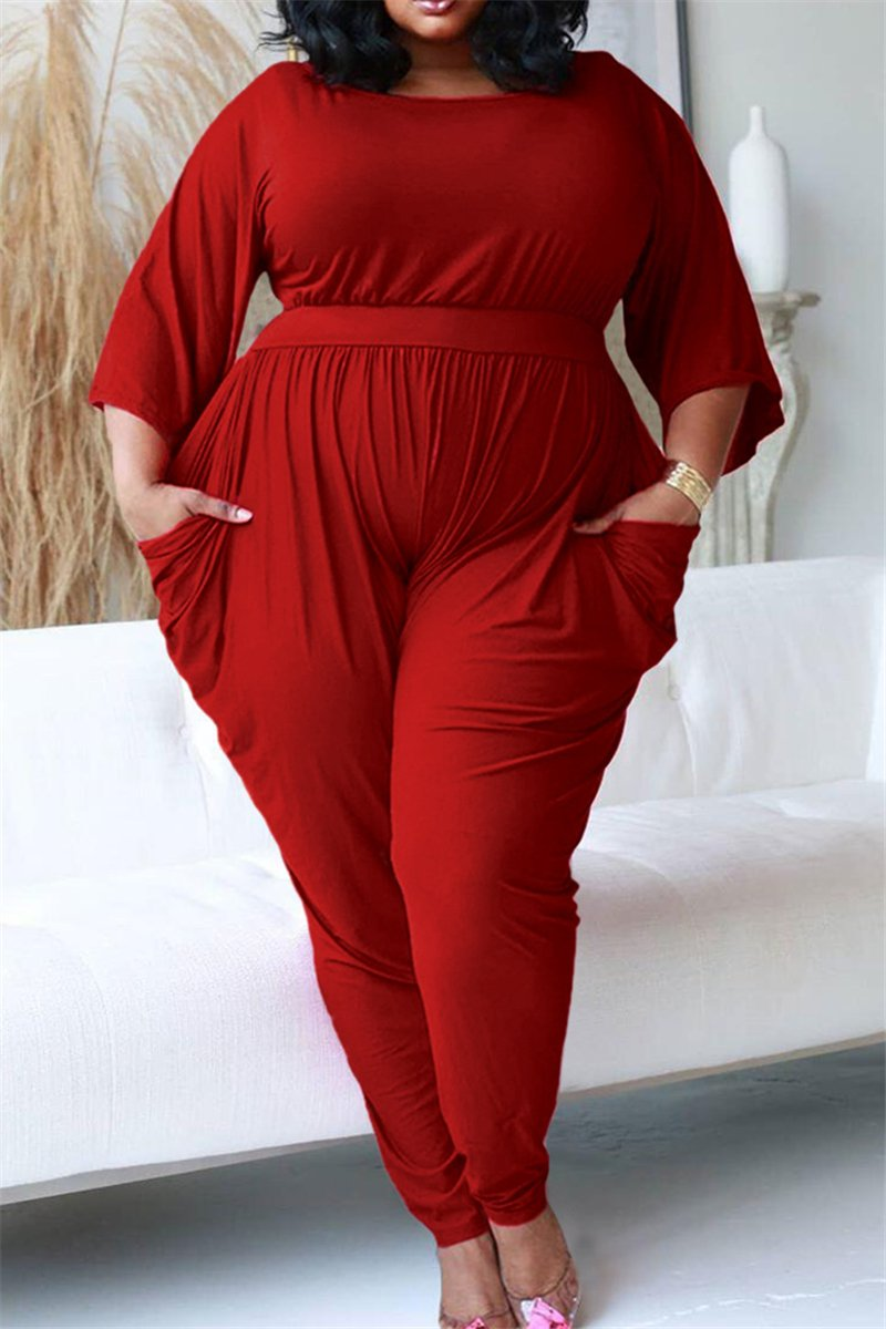 Plus Size L-5XL Ruched Pocketed Casual Jumpsuit
