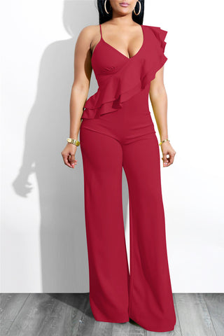 Slanted Double Layer Flounce Jumpsuit