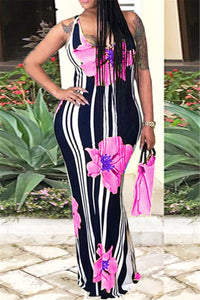 Crisscross Floral Maxi Dress
