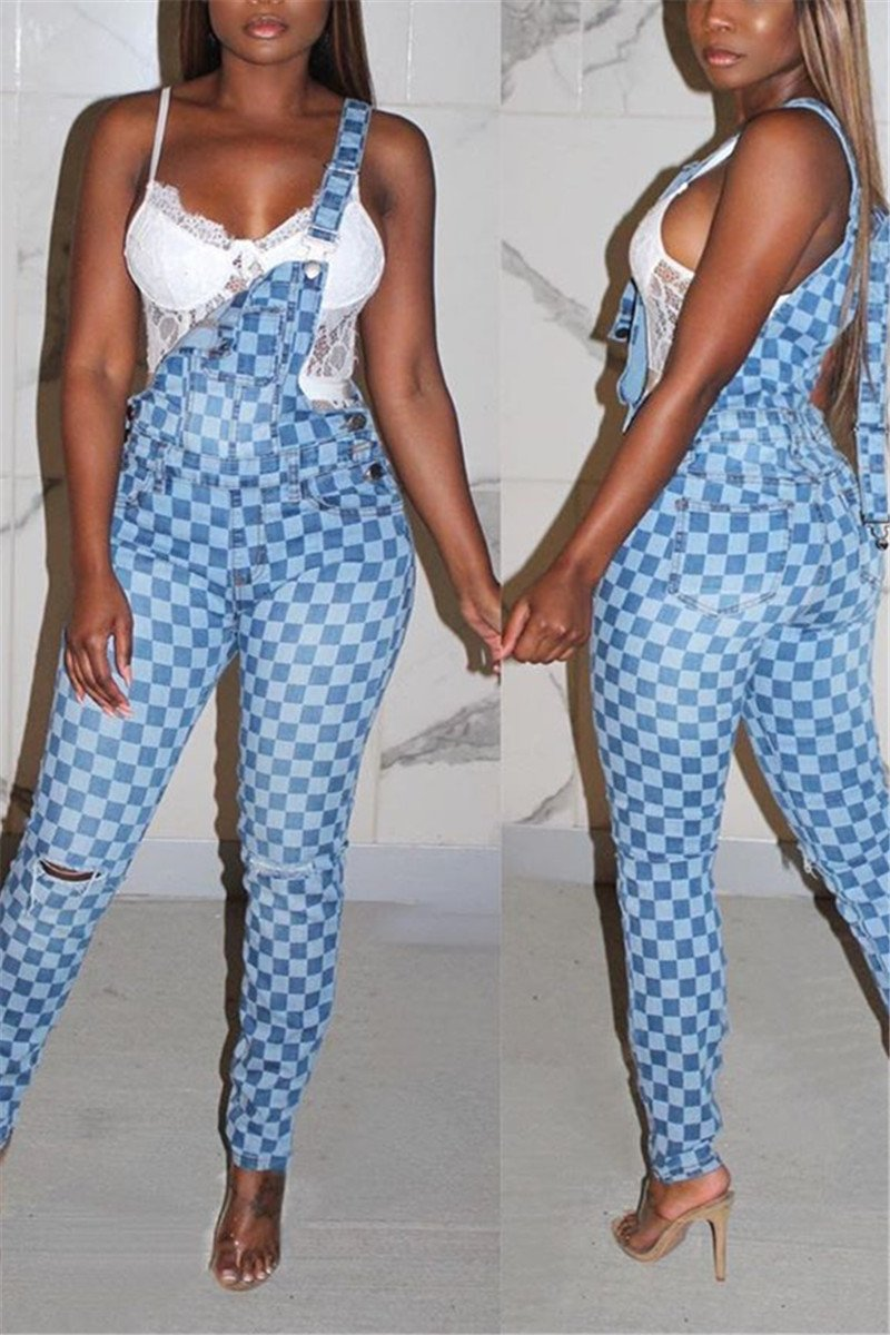 Lattice Printed Denim Overall