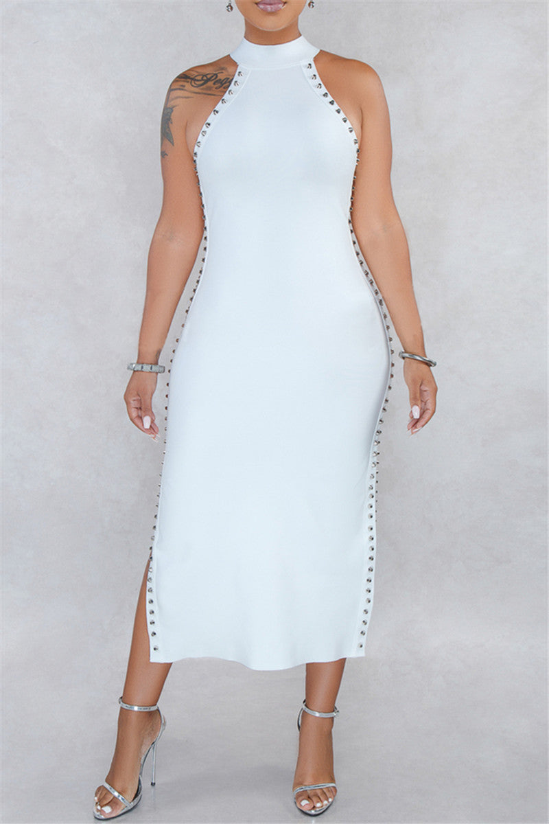 Side Split Rivet Studded Dress