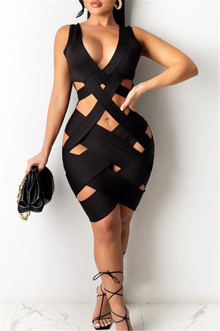 Deep V Bandage Sexy Dress