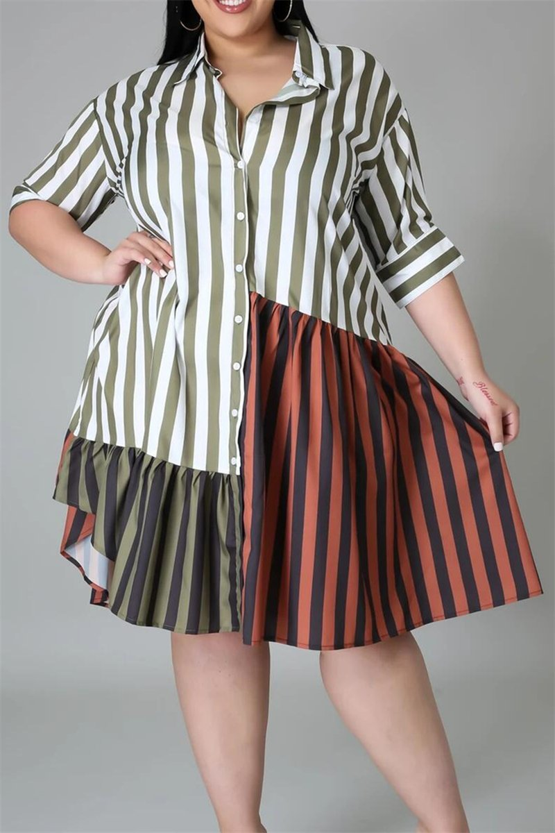 Plus Size L-5XL Striped Splicing Color Ruffle Left Midi Dress