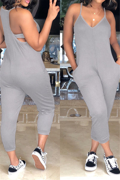 Pocketed Tank Top Jumpsuit