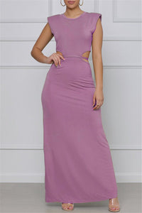 Hollow Out Bandage Waist Sleeveless Maxi Dress