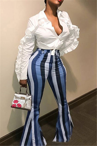 Casual Plus Size Striped Pants