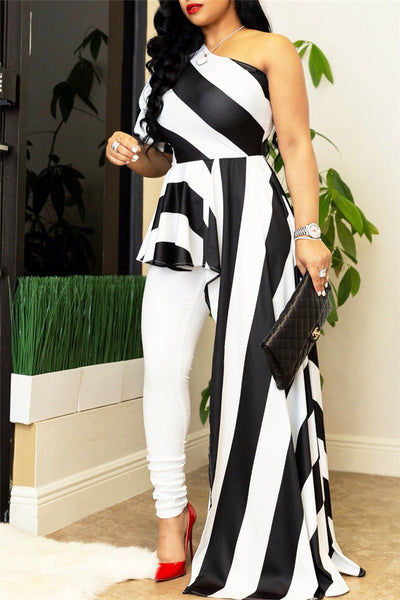 One Shoulder Striped Dress Top