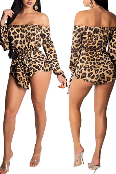 Leopard Printed Off Shoulder Romper