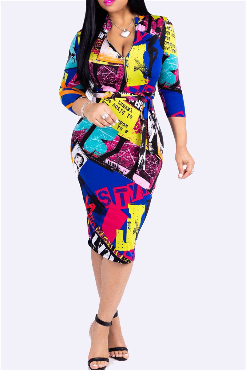 Digital Printed Belted Midi Dress