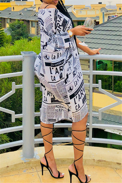 Newspaper Printed Casual Mini Dress