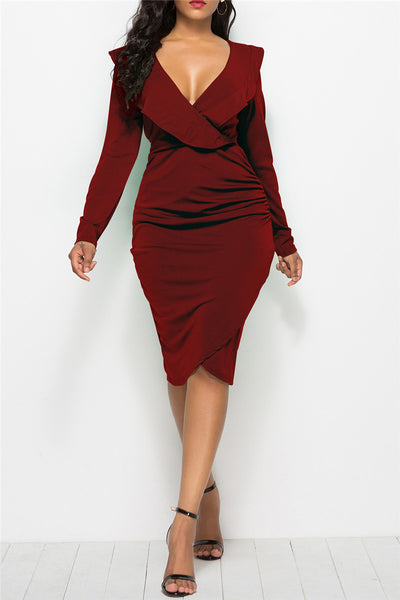 Plus Size Flounce Midi Dress