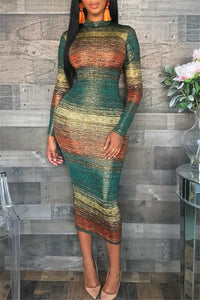 Color Changing Striped Midi Dress