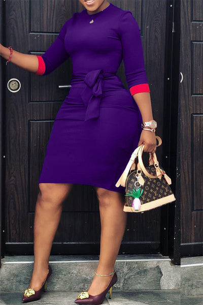 Belted Plus Size Mini Dress