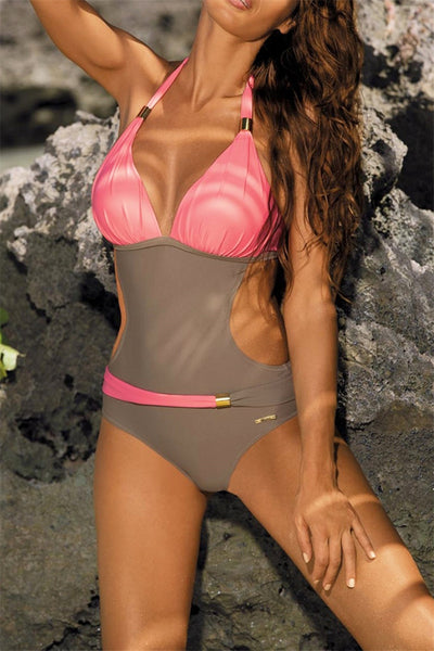 Plus Size Color Splicing Swimsuit