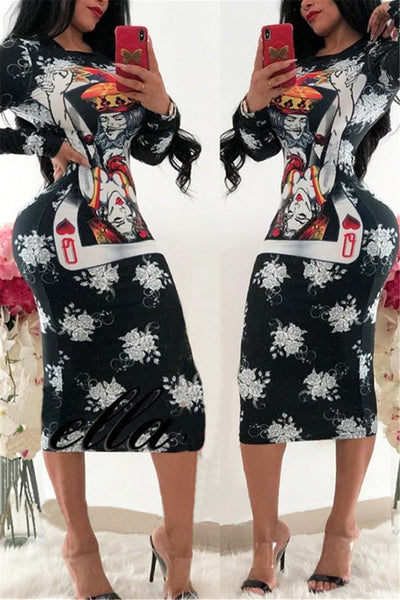 Poker Face Printed Midi Dress