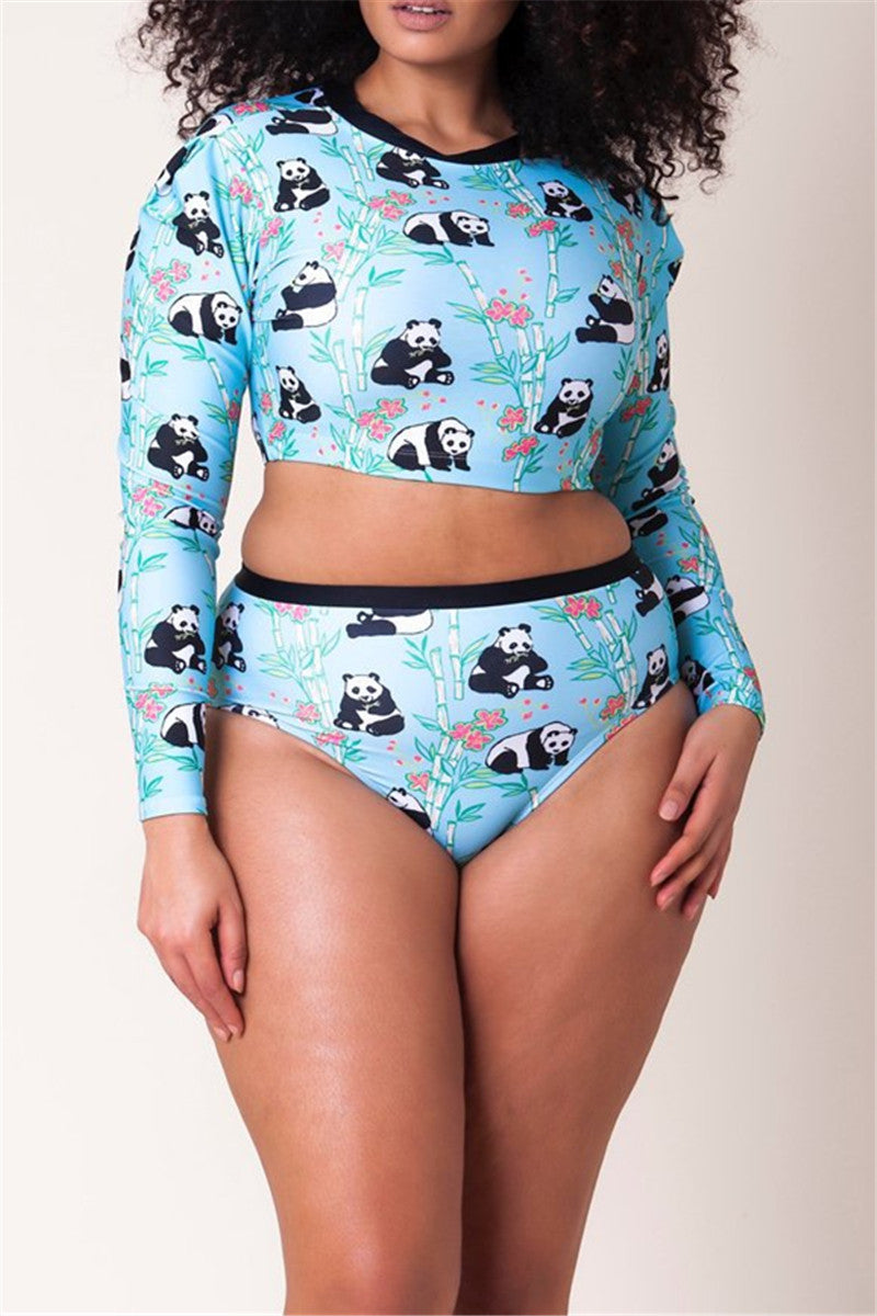 Plus Size Panda Printed Swimwear Sets