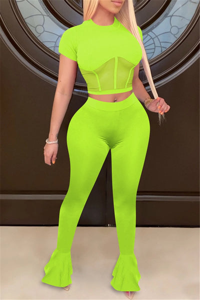 Net Yarn Splicing Crop Top with Flared Pants Sets
