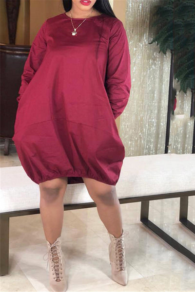 Solid Color Casual Mini Dress