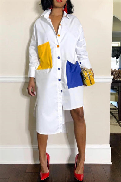 Irregular Hemline Casual Shirt Dress