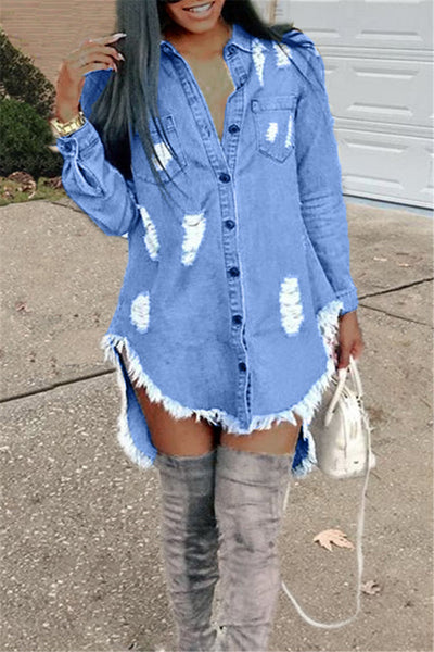 Denim Distressed Casual Shirt Dress
