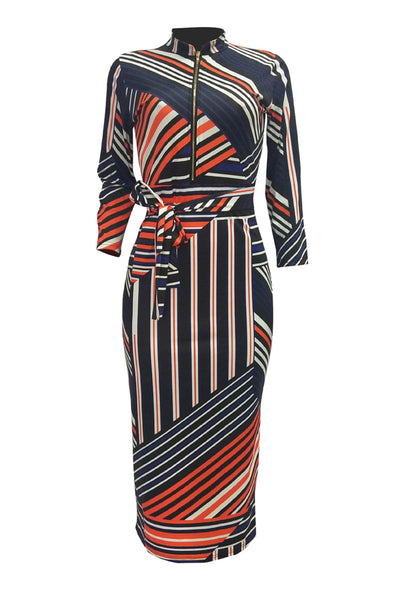Irregular Striped Belted Midi Dress