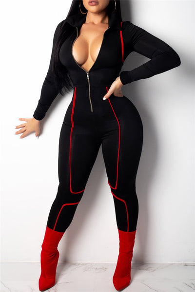 Stretched Zipper Jumpsuit
