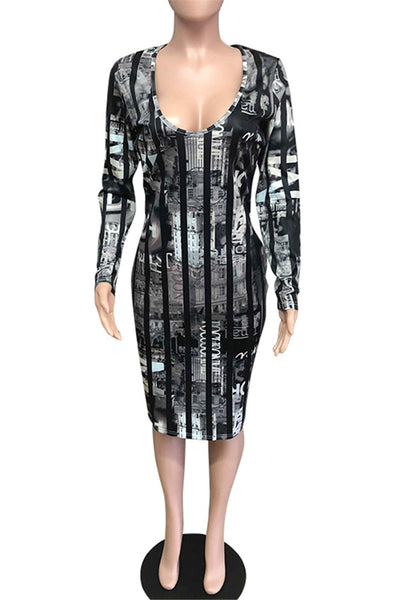 V Collar Printed Midi Dress