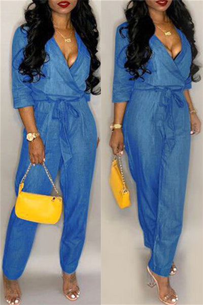 Casual Denim Jumpsuit With Belt