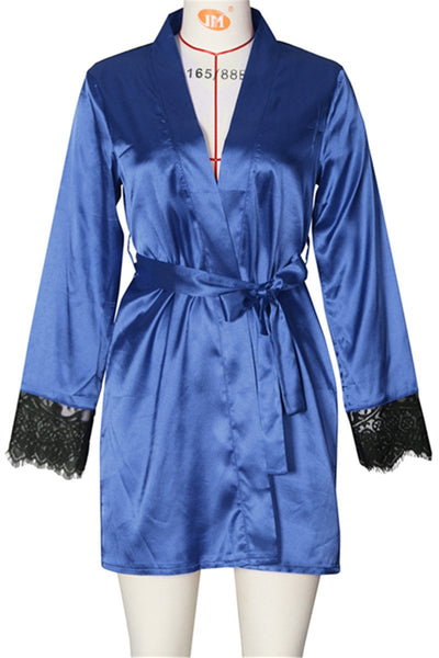 Lace Back Belted Pajama