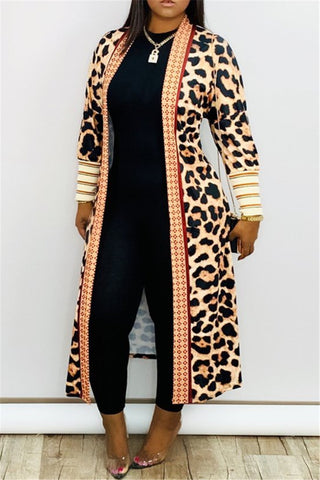 Leopard Printed Cardigan Coat