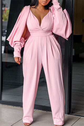Lantern Sleeve Cold Shoulder Jumpsuit
