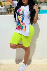 Cartoon Printed Split Top& Shorts Sets
