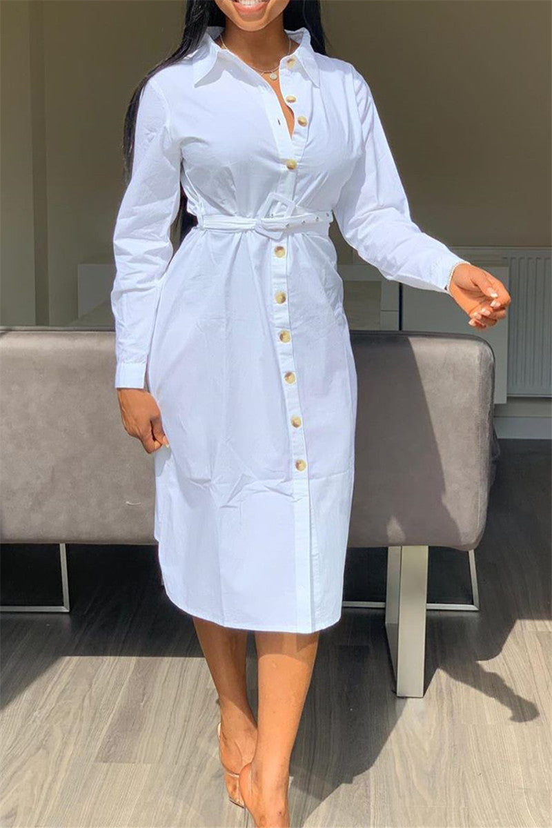 Casual Solid Color Shirt Dress