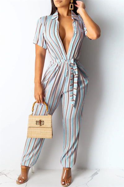 Casual Stripe Jumpsuit With Belt