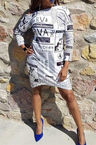 Casual Newspaper Printed Dress