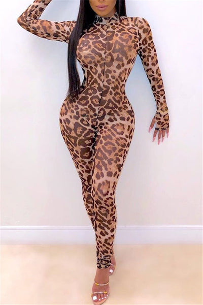 Leopard Printed Net Yarn Sheer Jumpsuit