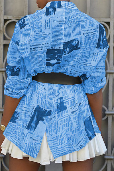 Casual Newspaper Printed Jacket
