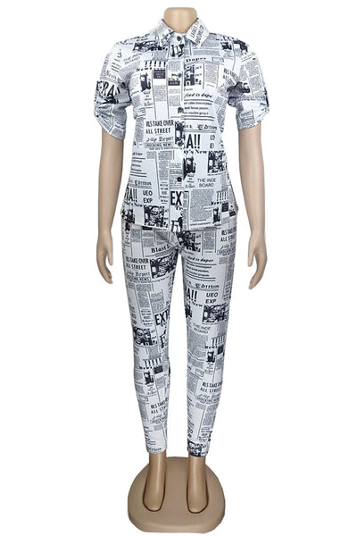 Plus Size Newspaper Printed Sets