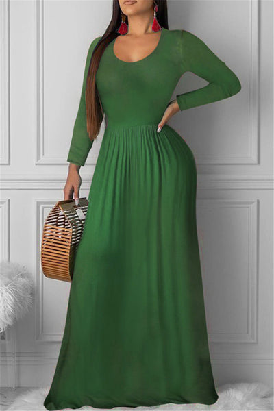 Solid Color Ruched Maxi Dress