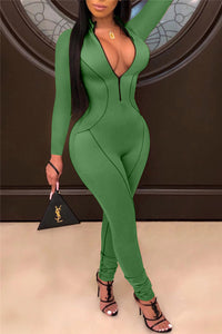 Solid Color Bodycon Jumpsuit