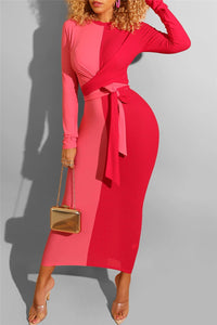 Color Splicing Bandage Maxi Dress