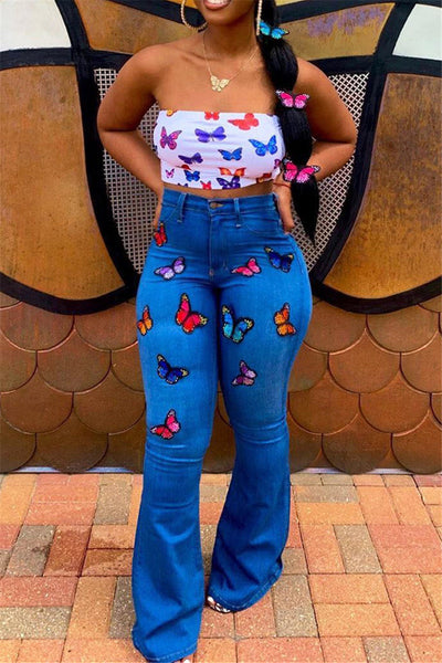 Butterfly Embroidery Denim Pants