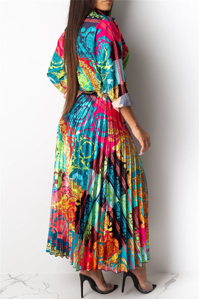 Printed Shirt& Pleated Skirt Sets